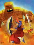 Dragon Quest hero vs golem by IcedEdge