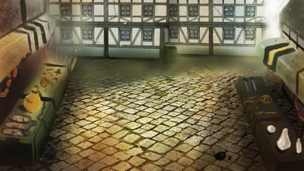 Medieval Market visual novel background by IcedEdge