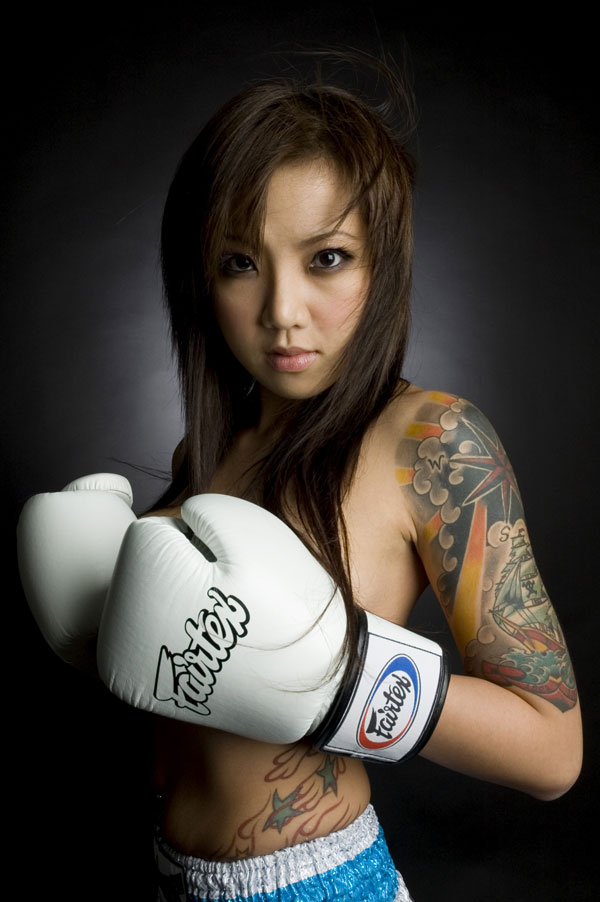 Sexy asian girl boxing think