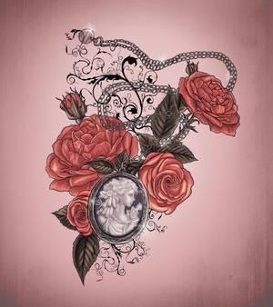 Locket and roses tattoo design
