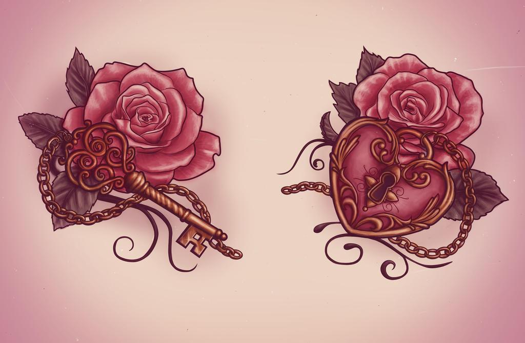 Key and Locket Tattoo Designs
