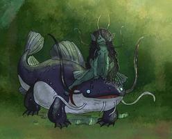 naiad and catfish by Spoonfayse