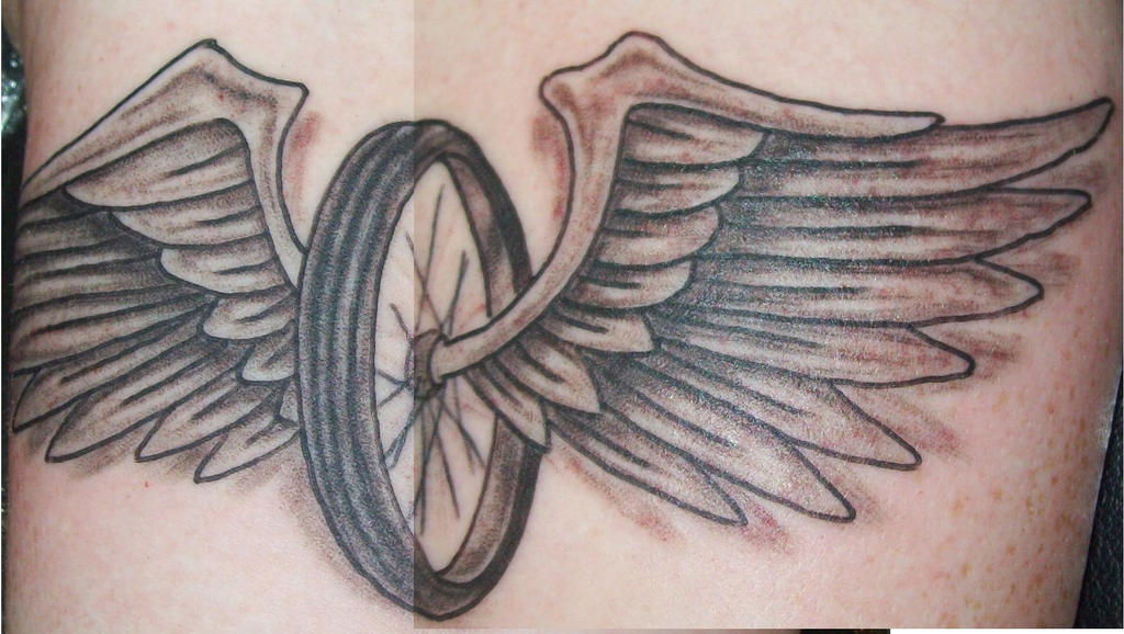 Tire and wings tattoo by dannewsome on DeviantArt