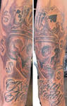 Skull and crown dirty money tattoo