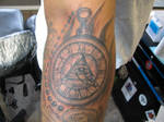 freehand watch tattoo black and grey