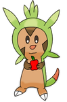 Chespin with an apple by DrewTheRedPoochyena