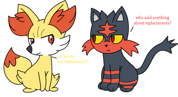 litten and fennekin by drewtheredpoochyena