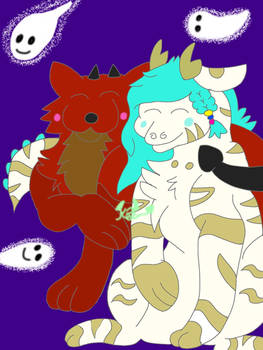 Spook time lovings by PhamtomUni-Wolf