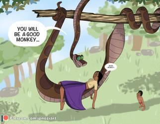 Mowgli and Shanti vs. Kaa (Patreon for full story) by ipnozi