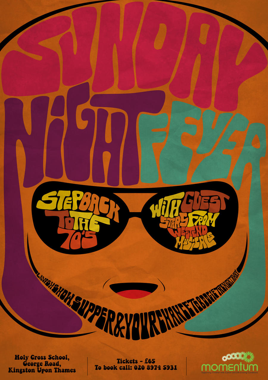 70s poster design -  70s Theme Poster Sunday Night Fever By Scarzsfx