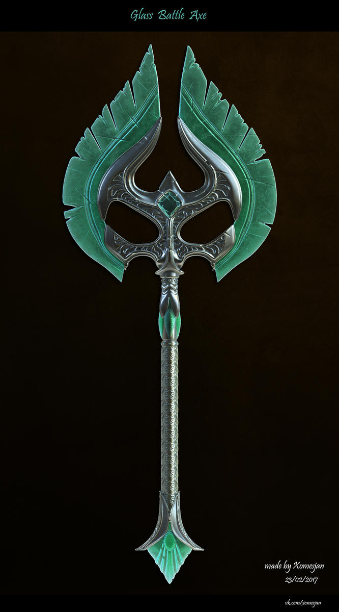 Glass Batlle axe by Xomesjan