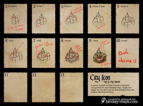 fantasy map - step by step city icon