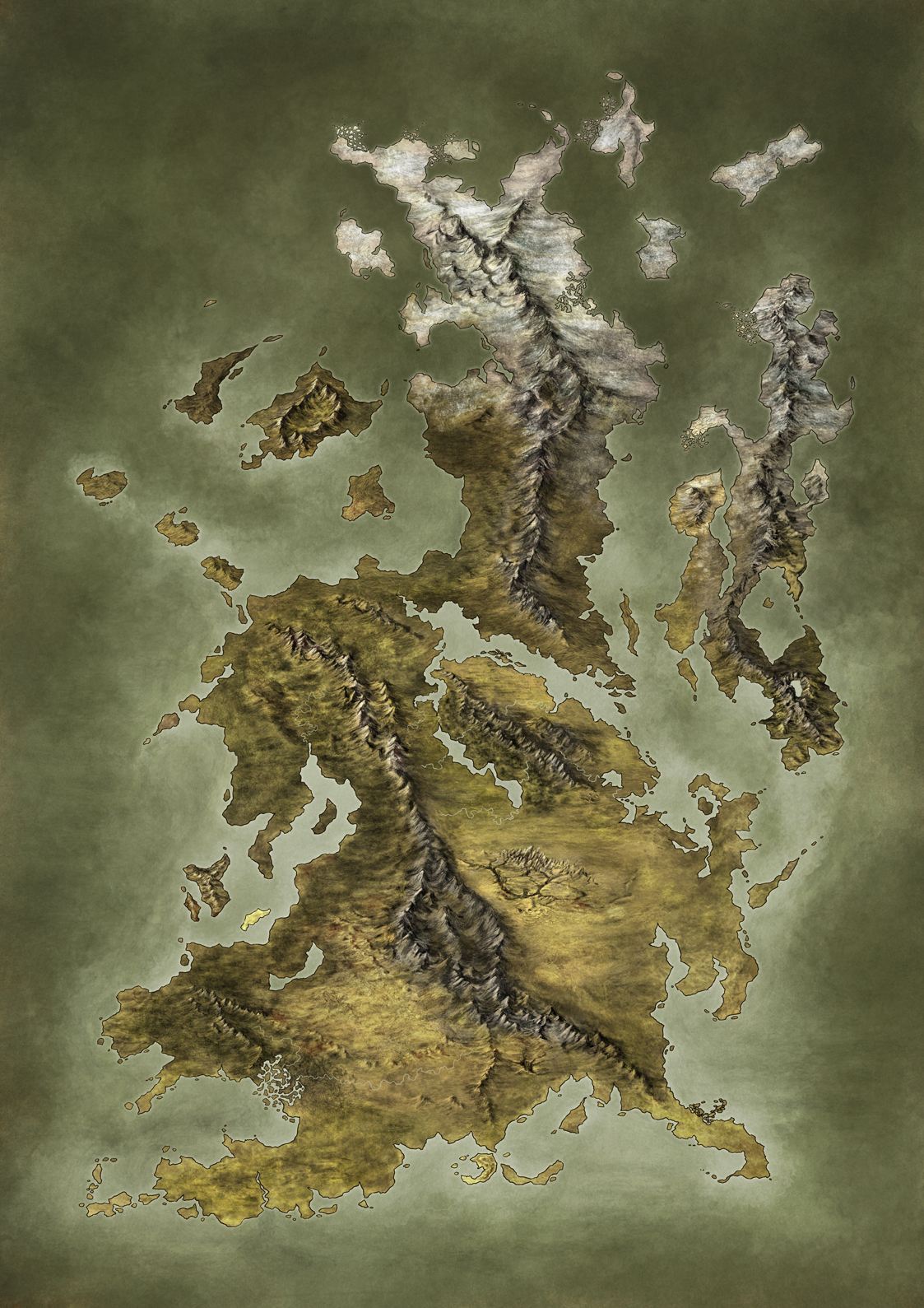 Handpainted Fantasy Map Concept by Djekspek
