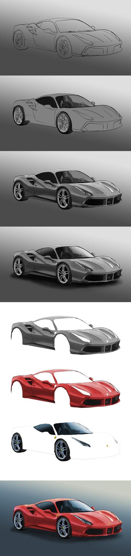 Ferrari 488 Colour Process by TAMAKINGHINI