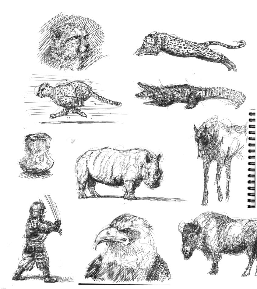 Ball point pen sketches 2 by TAMAKINGHINI