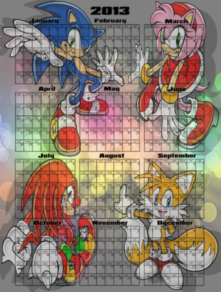 Sonic calendar by ILOVEFANTASY