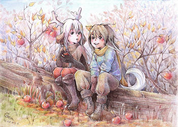 Little Deer and Little Fox in the Forest by deerfox-art