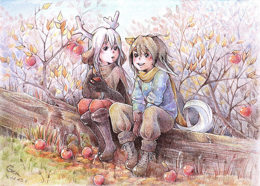 Little Deer and Little Fox in the Forest by Mikoele