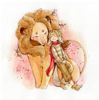 Little Fox and Lion by deerfox-art