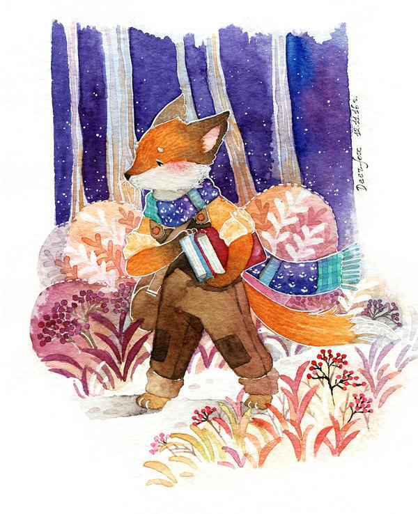 Fox with books by deerfox-art