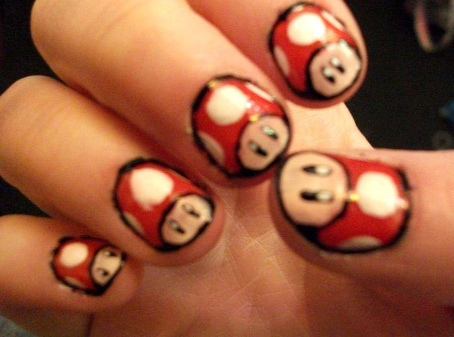 Mario Mushroom Nails by kaylamckay