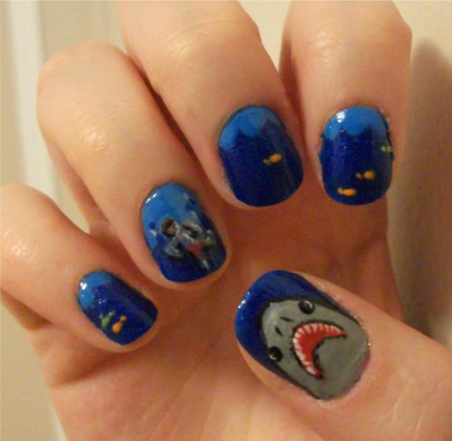 Shark Attack Nails by kaylamckay