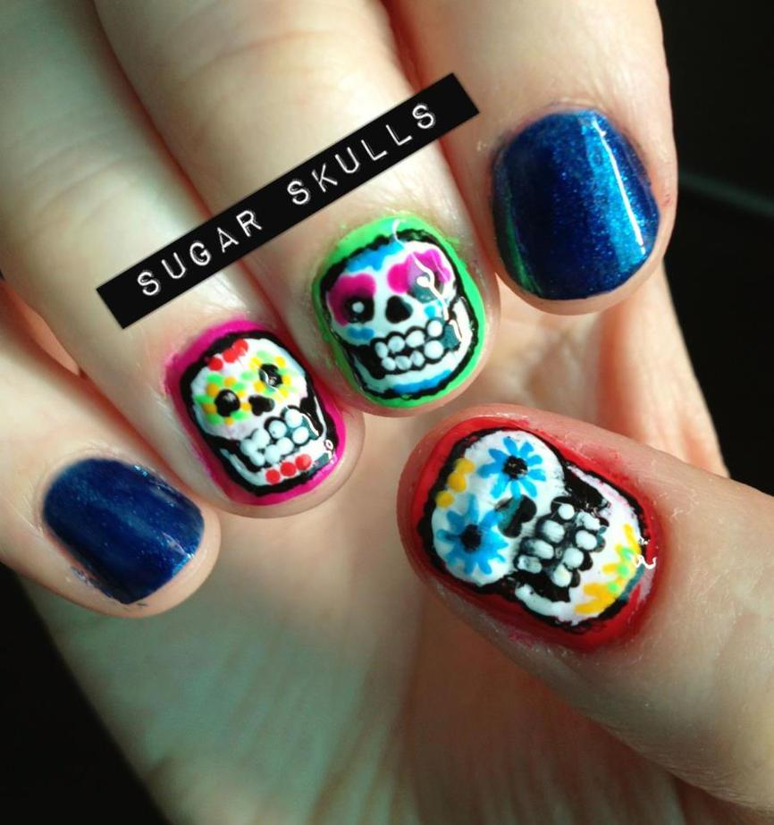 Sugar Skull Nails by kaylamckay