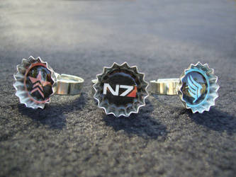 Mass Effect N7 Paragon Renegade Rings by Monostache