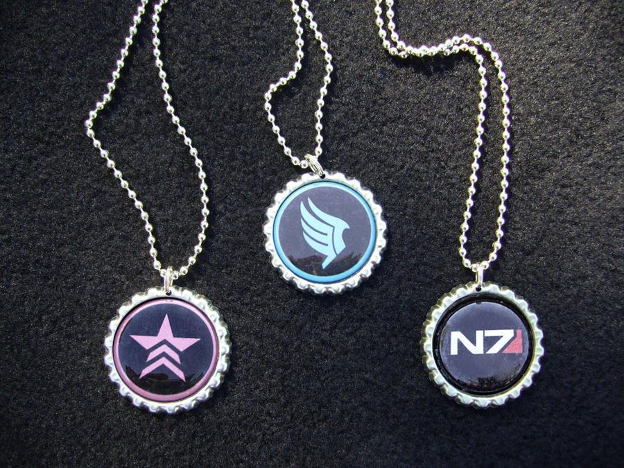 Mass Effect N7 Renegade Paragon Necklaces by Monostache