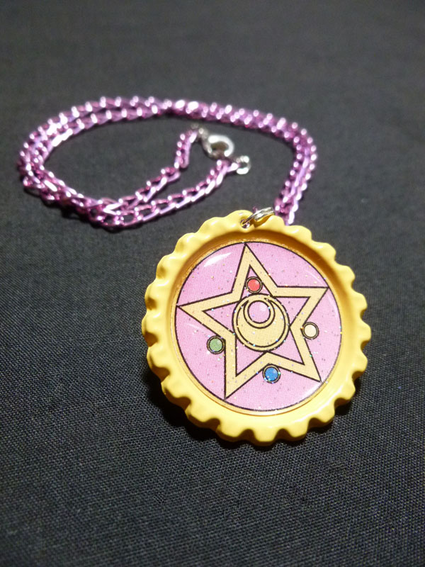 Sailor Moon Crystal Star Compact Brooch Necklace by Monostache