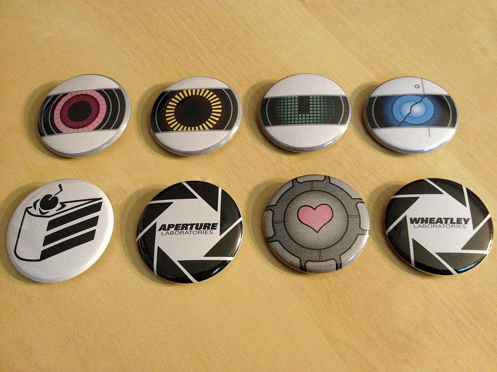 Portal 2 Pinback Button Set by Monostache