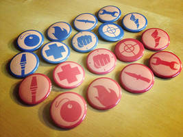 TF2 Team Fortress 2 Classes Button Sets - Red Blu by Monostache