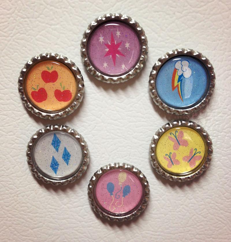 My Little Pony Mane 6 Magnet Set - Handmade by Monostache