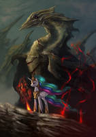 Princess Celestia and dragon