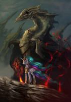 Princess Celestia and dragon