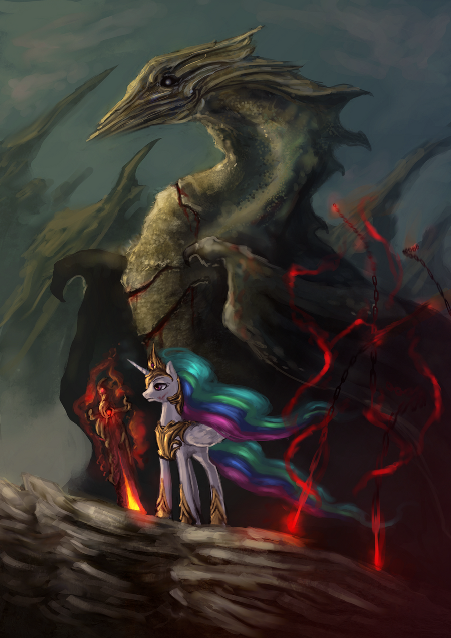 Princess Celestia and dragon by ElkaArt