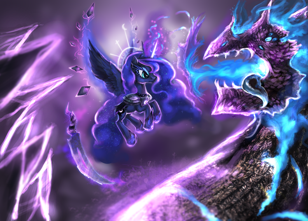 Princess Luna vs Dream/Nightmare Dragon by ElkaArt