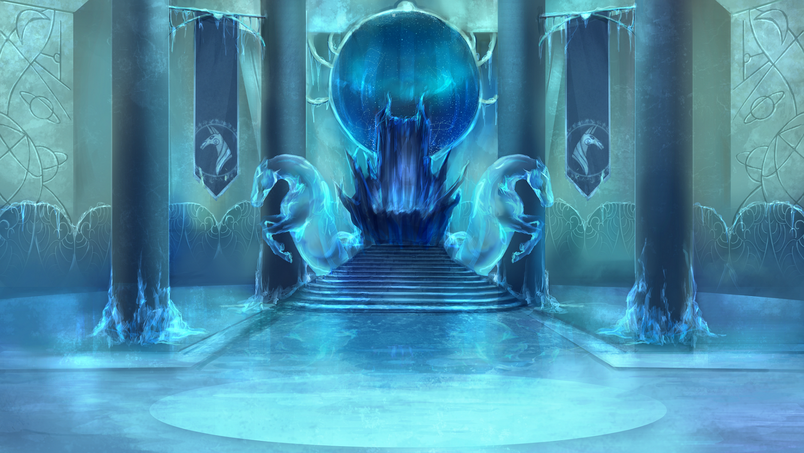 Castle room background -  Frightmare Frost Castle Throne Room By Elkaart