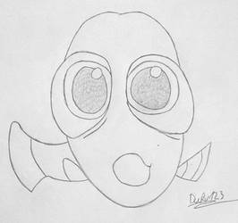 Inktober 2017 - 4 UNDERWATER Baby Dory by TheEvilHadrosaur
