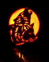 Halloween wolves by sylverwolffe