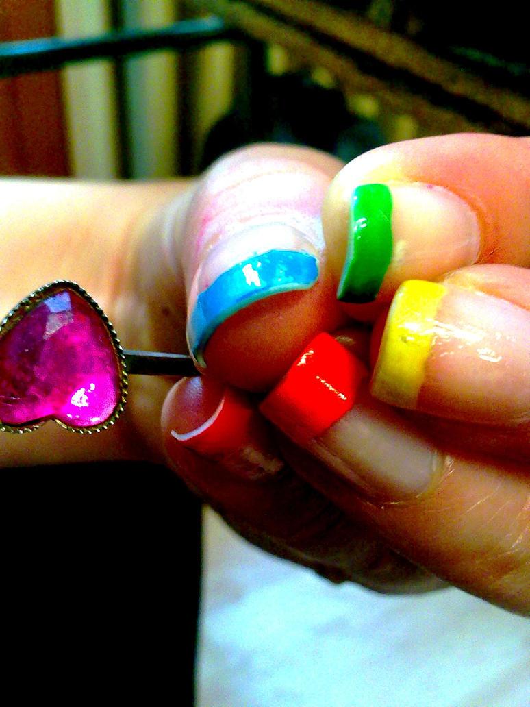 Ногти салатовый с розовым
