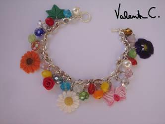 Multicolored flowers bracelet by Valkyrie-21