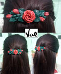 Rose hair clip (worn on) by Valkyrie-21