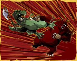 - Axe T-rex vs Muay Thai Bear - by FelipeChoque