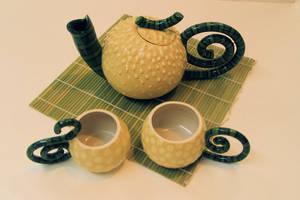 Gourd Tea Set II by suekassirerclay