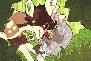 kiss kiss! by fluffmoths