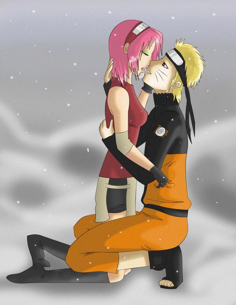SakuNaru 'Snow kiss' by Shinzou91
