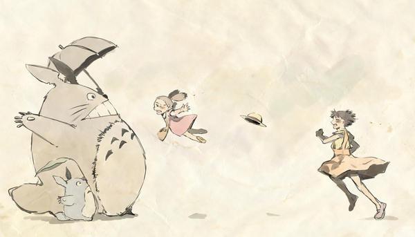 Request: Satsuki, Mei, Totoro by festivewind