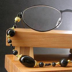 Gold and Black Eyewear Chain by Gilliauna