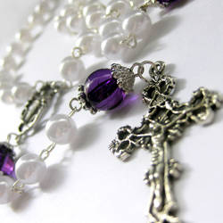 Purple, Pearl n Silver Rosary by Gilliauna